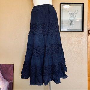 Dresses & Skirts - Bohemian navy full long eyelet skirt